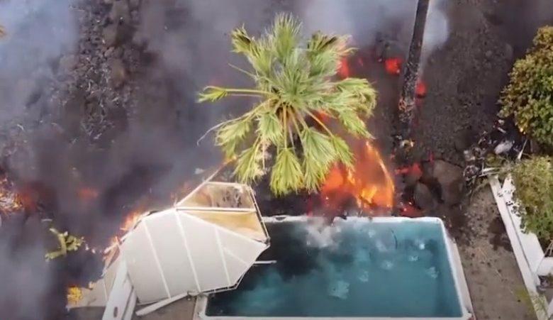 Drone flagra piscina sendo destruída pela lava do vulcão Cumbre Vieja