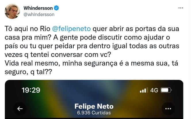 Treta entre Whindersson Nunes e Felipe Neto esquenta as redes sociais